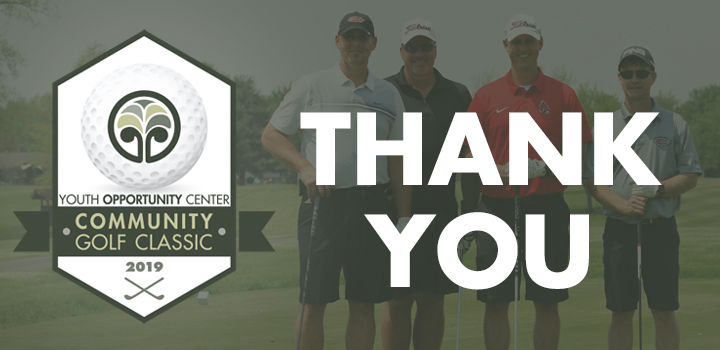 """""""Thank You"""" over a photo of four male golfers, with the Golf Classic logo."""