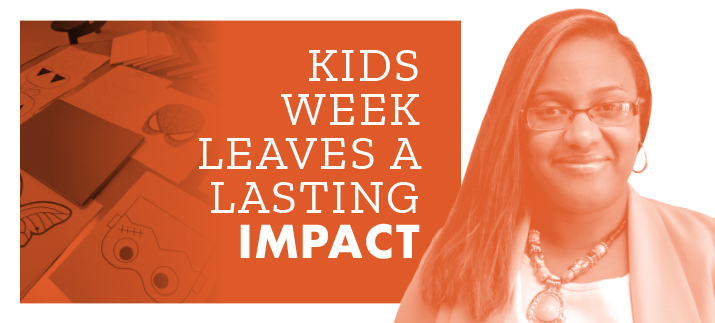 """Kids Week Leaves a Lasting Impact"" with a photo of masks colored during Kids Week and Dr. Giselle McKell-Jeffers."