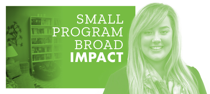 """Small Program Big Impact"" with a photo of the library at TRU Harbor and Dr. Katrina Mallory."