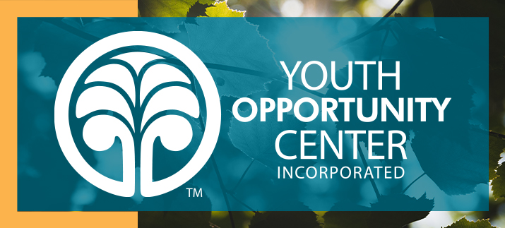 The YOC logo in white, layered with blue and yellow rectangles over a subtle texture of leaves.